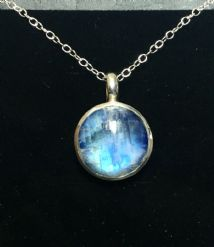 Round Rainbow Moonstone Pendant Silver medium stone 'One-Off'